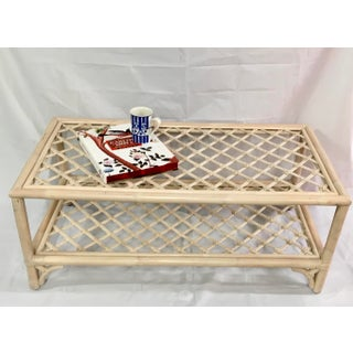 Chinoiserie White Washed Rattan Coffee Table With Bottom Shelf Preview