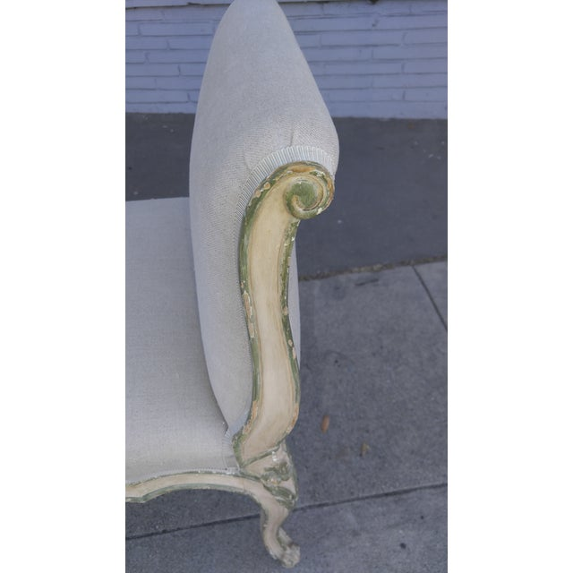 French Bench With Arms in a Hand Painted Antiqued Finish For Sale In Los Angeles - Image 6 of 10