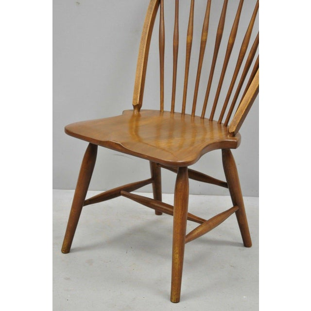 Vintage Mid Century Maple Wood Fan Back Colonial Windsor Dining Side Chair Chairish