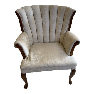 Vintage Creamy Country French Wingback Armchair For Sale