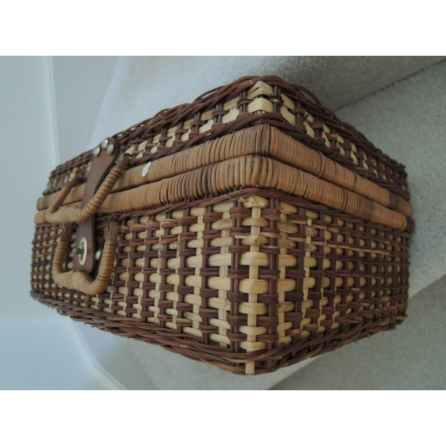 Vintage Picnic Basket & Tableware - Service for 4 For Sale - Image 9 of 13
