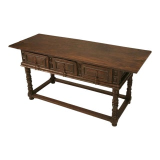 Rustic 17th Century Hand-Carved Spanish Table