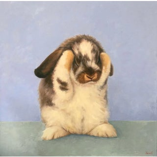 """""""Stella"""" Contemporary Bunny Oil Painting For Sale"""