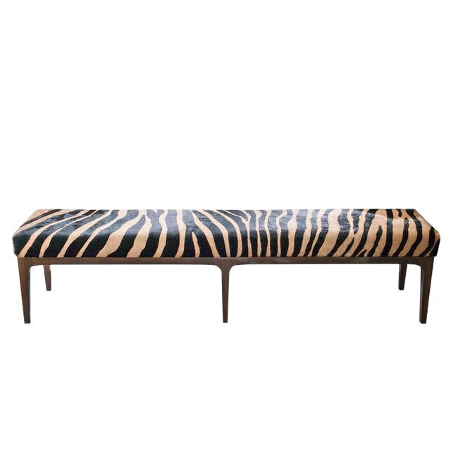 Walnut Bench With Zebra Stencil Cowhide Upholstered Seat For Sale