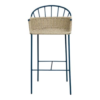 Boho Chic Mexa Blue Bar Stool For Sale