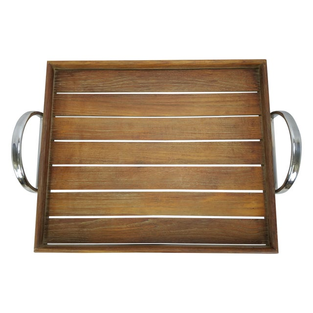Danish Modern Teak Tray With Chrome Handles - Image 1 of 5