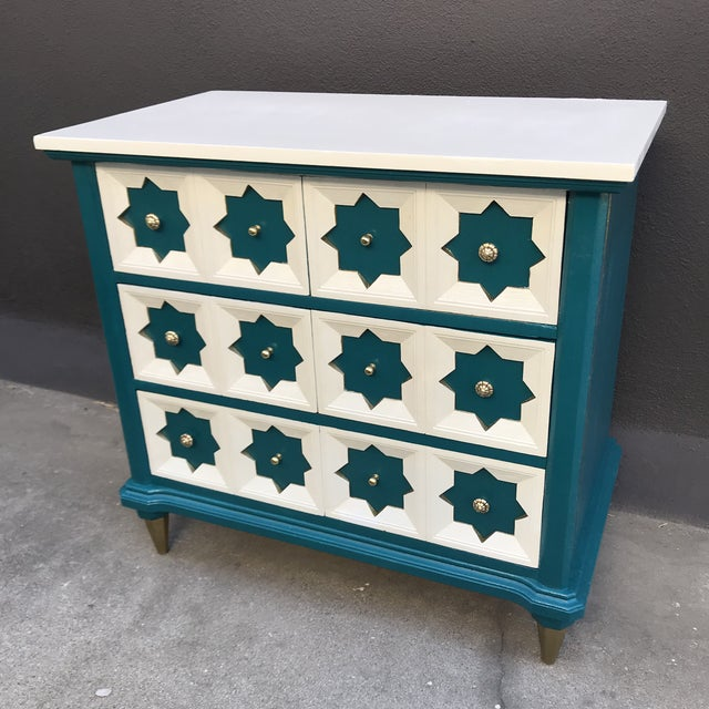 Islamic Moroccan Star MCM Painted Chest For Sale - Image 3 of 8