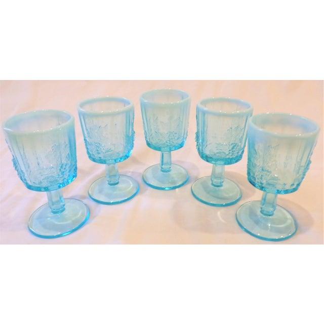 Vintage Opaline Tiffany Blue Wine Glasses - Set of 5 For Sale - Image 4 of 9