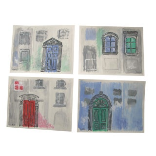 Abstract Doors Windows City House Paintings by Cleo Plowden - Set of 4 For Sale