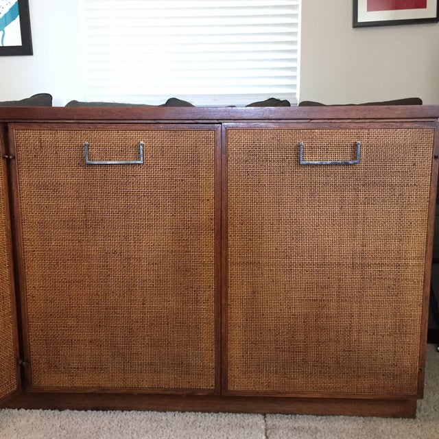 Founders Style Mid-Century Cane & Walnut Buffet For Sale - Image 4 of 11