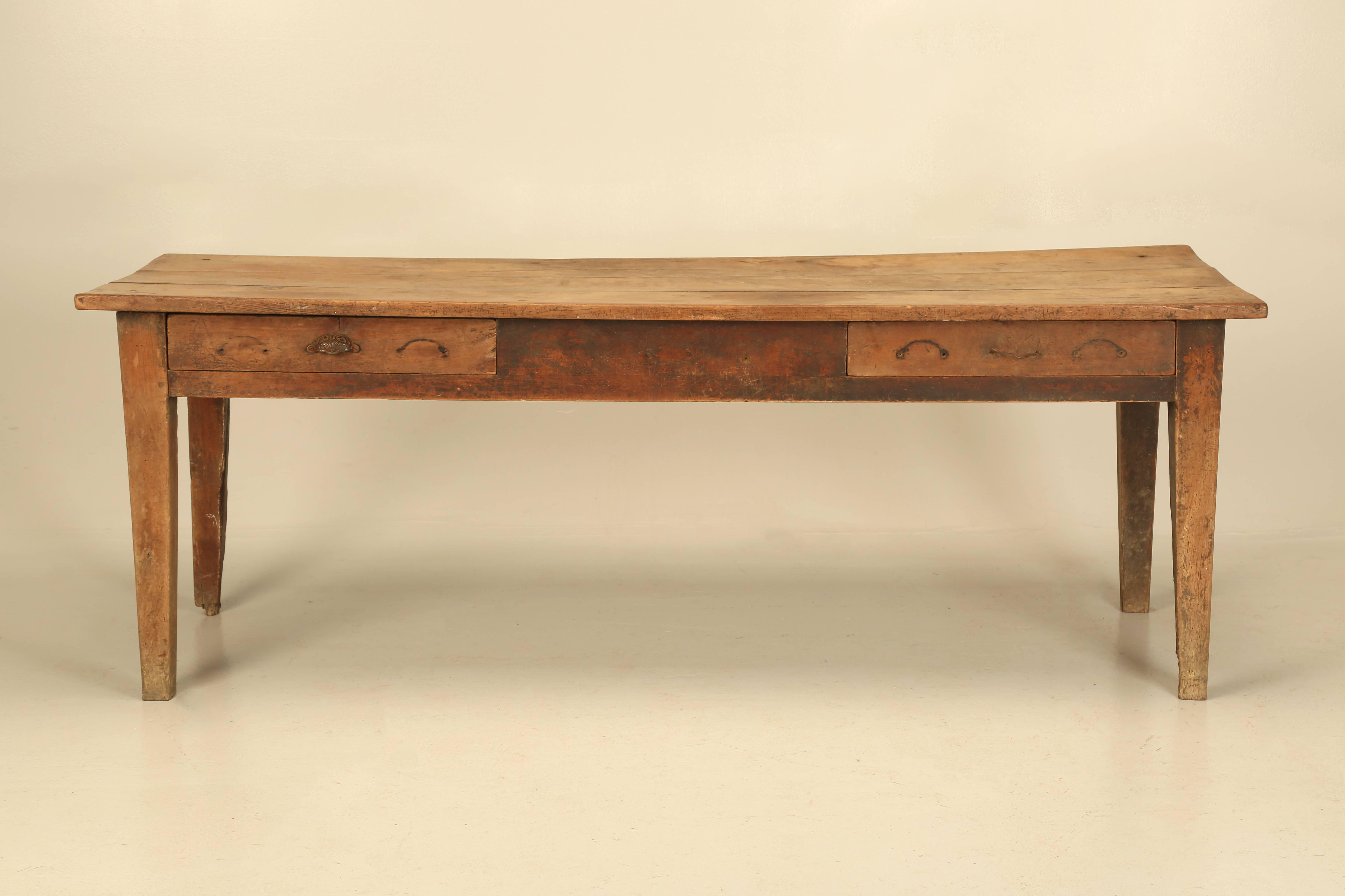 Antique French Cherrywood Farm Table, In An Absolutely Untouched All  Original Condition. Although It