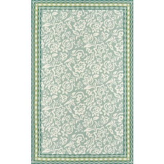 """Madcap Cottage Under a Loggia Rokeby Road Green Indoor/Outdoor Area Rug 3'9"""" X 5'9"""" For Sale"""