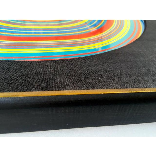 """ Tadasky "" Tadasuke Kuwayama Rare Vintage 1968 Mid Century Modern Framed Op Art Lithograph Print "" Whirling Circles "" For Sale - Image 9 of 13"