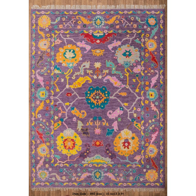 Purple Contemporary Turkish Oushak Rug - 10′4″ × 13′4″ For Sale - Image 8 of 8