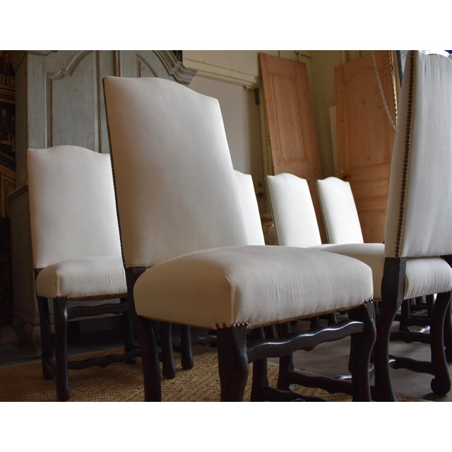 1940s French Provincial Upholstered Os De Mouton Dining Chairs - Set of 10 For Sale - Image 9 of 13
