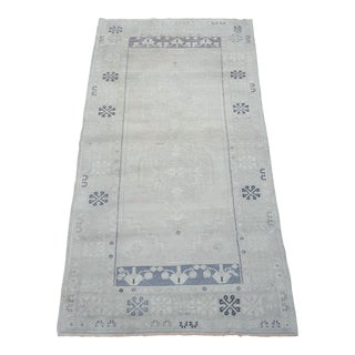 """Shades of Gray Vintage Oushak Turkish Rug - 3'8"""" X 6'8"""" For Sale"""