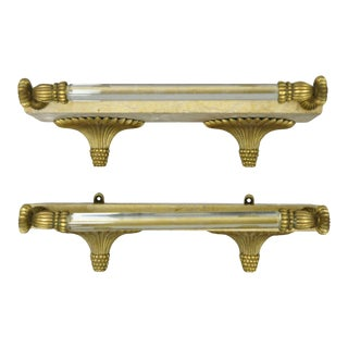 Sherle Wagner Style French Bronze Marble Glass Bar Rod Towel Shelves - a Pair For Sale