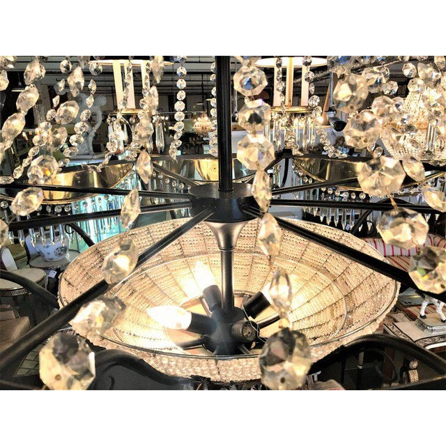 Gold A Pair of Art Deco Palatial Eight Arm Ebony and Brass Chandeliers w Shades For Sale - Image 8 of 12