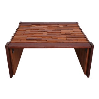 Pair of Brazilian Mixed Wood Low Tables For Sale