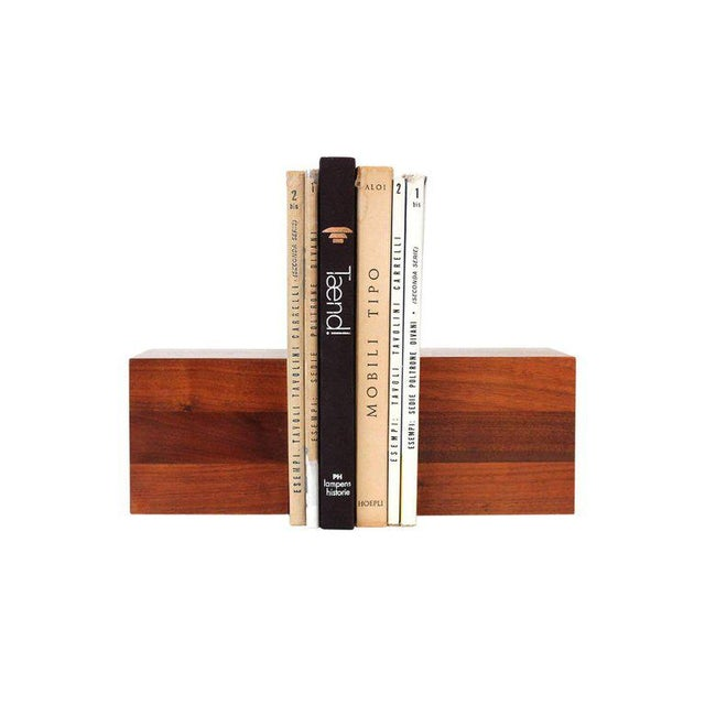 Sculptural solid walnut bookends designed by Jane and Gordon Martz for Marshall Studios. Bookends have good scale and will...
