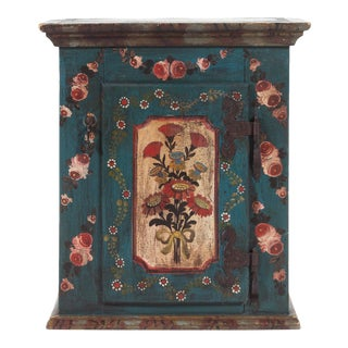Antique Folk Art Painted Hanging Cabinet For Sale