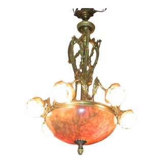 19c Large French Ormolu and Alabaster Chandelier – Exceptional For Sale