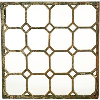Mid 19th Century Antique Cast Iron Geometric Mirror For Sale