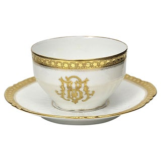Antique Limoges Crested Cup & Saucer For Sale