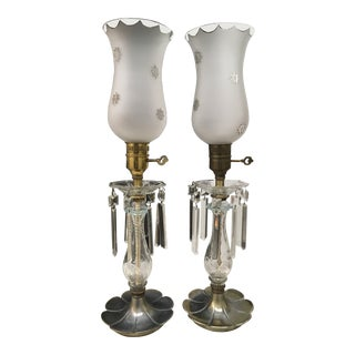 1940s Art Deco Glass and Crystal Table Lamps - a Pair For Sale