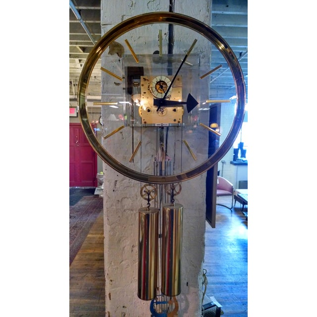 Howard Miller Lucite & Brass Chiming Pendulum Wall Clock - Image 3 of 7