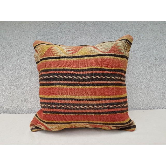 Vintage Turkish Kilim Pillow For Sale - Image 9 of 9