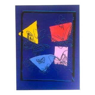 "Andy Warhol Estate Rare Vintage 1991 Collector's Pop Art Lithograph Print "" Butterflies - Vanishing Animals "" 1986 For Sale"