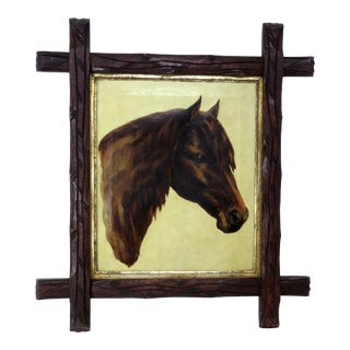 19th Century Figurative Horse Oil Painting on Canvas For Sale