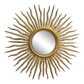 Large 55 Inch Vintage Giltwood Sunburst Mirror For Sale