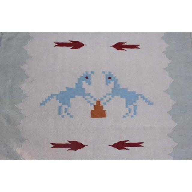 "Vintage Boho Chic Flat Weave Rug - 3'1"" x 5'4"" - Image 7 of 8"