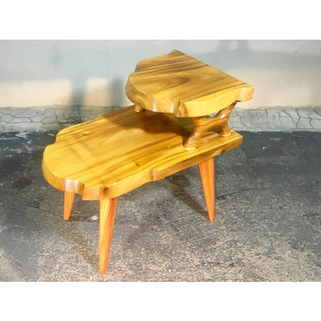 Boho Chic 1960s Organic Modern Solid Slab Koa Wood 2-Tiered End Table For Sale - Image 3 of 12