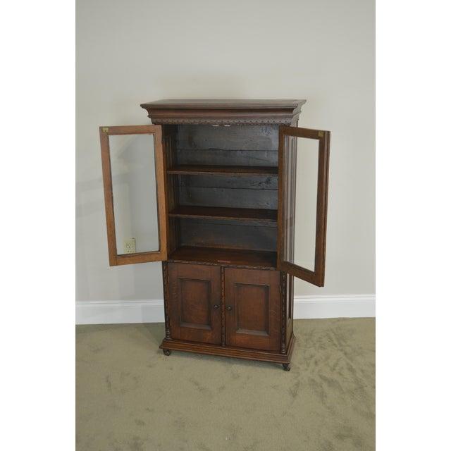 Oak Antique Miniature Victorian Oak 2 Door Bookcase Cabinet For Sale - Image 7 of 13