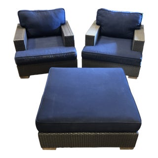 Restoration Hardware All Weather Wicker Chairs and an Ottoman With Cushions - 3 Pieces For Sale