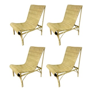 Louis Sognot Superb Set of Rattan Slipper Chairs in Perfect Vintage Condition For Sale