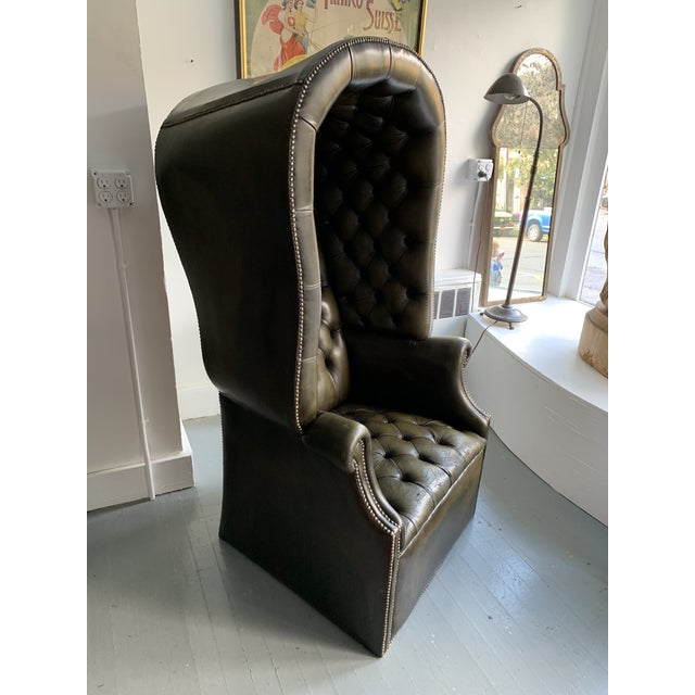 Mid 20th Century Leather Porters Chair For Sale - Image 5 of 11
