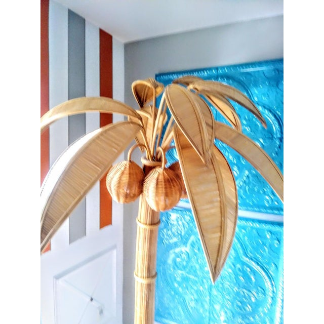 Amber Vintage Mario Lopez Torres Massive Natural Honey Rattan Palm Beach Regency Palm Tree Coconut Floor Lamp For Sale - Image 8 of 9