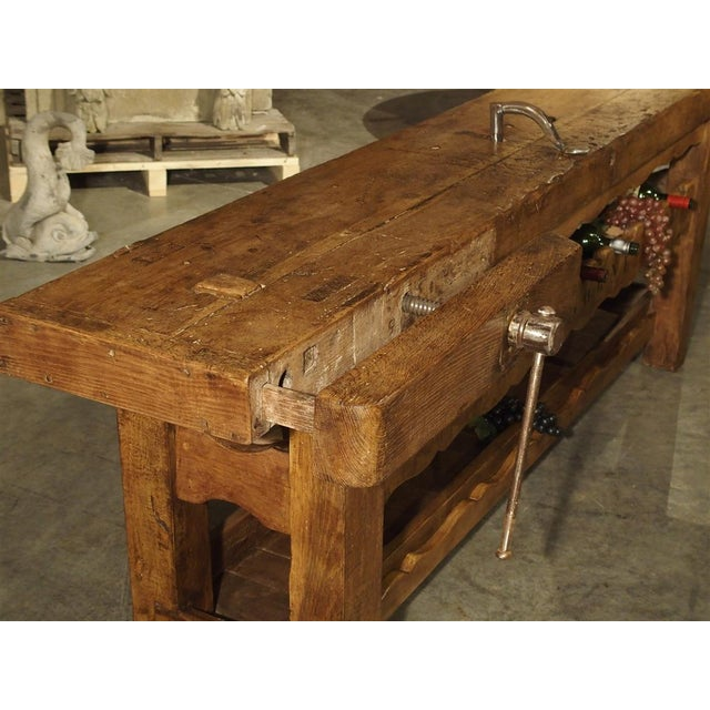 """Traditional Antique """"Bourgogne"""" French Wine Carrier Converted From a Workbench For Sale - Image 3 of 13"""