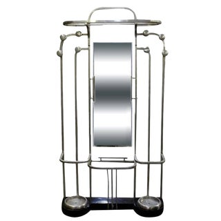 Streamline Art Deco Polished Aluminium Hall Tree For Sale