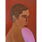 "Image of ""Clara"" Contemporary Art Deco Style Portrait Oil Painting by Mafalda Vasconcelos For Sale"