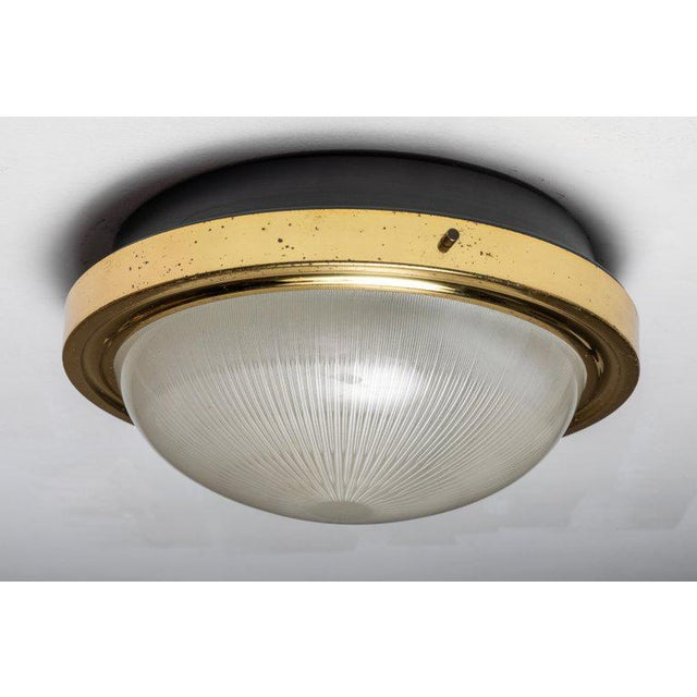 Artemide 1960s Sergio Mazza Brass & Glass Wall or Ceiling Lights for Artemide - A Pair For Sale - Image 4 of 13