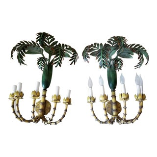 Tole Tropical Palm Sconces - a Pair For Sale