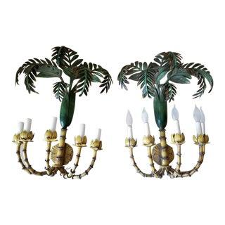 Tole Tropical Palm Sconces - a Pair For Sale