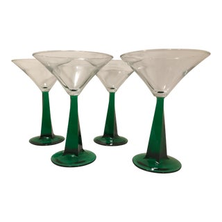 1970s Mid-Century Modern Green Stem Martini Glasses - Set of 4 For Sale