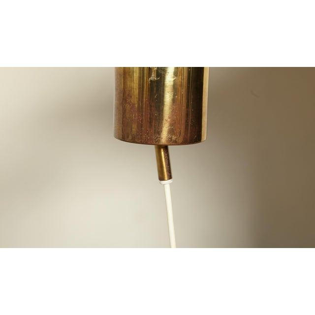 AB Markaryd Hans-Agne Jakobsson Green and Brass Fringe Ceiling / Pendant Lamp, Sweden, 1960s For Sale - Image 4 of 7