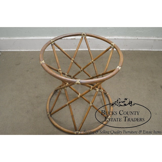 """*STORE ITEM #: 17553 McGuire of San Francisco 60"""" Round Glass Top Rattan Bamboo Base Dining Table AGE / ORIGIN: Approx. 30..."""